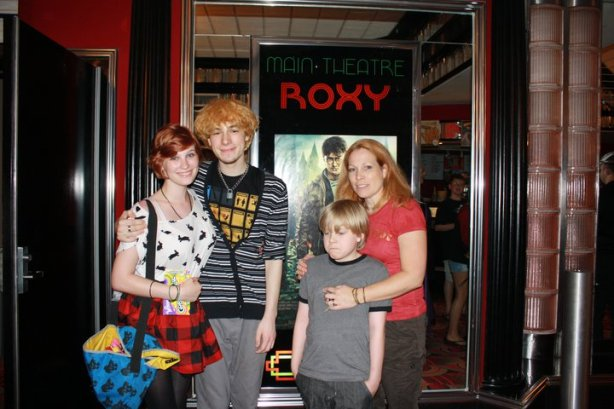 Shelby, Noah, Aengus, and myself at the Ephrata Main Theater for Harry Potter.